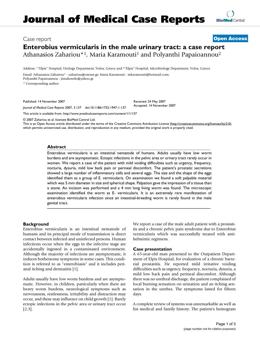 enterobiosis protozoa férgek eltávolítása felnőttkorban